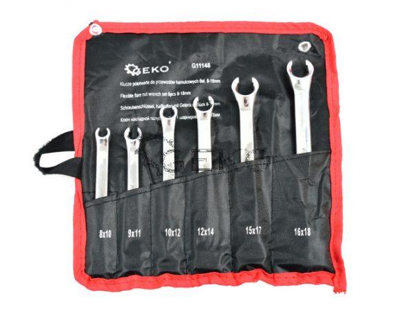 Geko fékcsőkulcs készlet 6db-os 8-18mm fékcső kulcs G11148