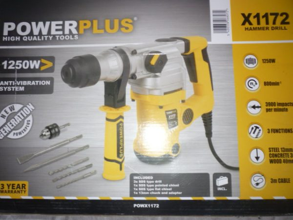 Power Plus fúrókalapács 1250W 4J POWX1172