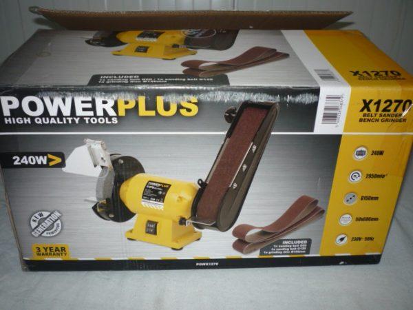 Power Plus sárga szalagcsiszoló és köszörű 240W POWX1270