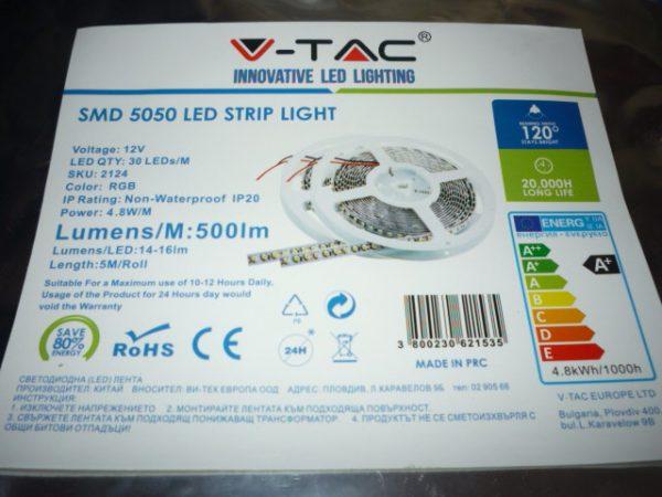V-TAC SMD5050 RGB LED szalag 5m 30l/m 2124