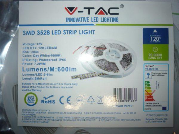 V-TAC LED Szalag 120 LED természetes fehér IP65 2044