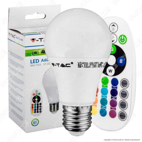 V-TAC LED izzó 6W E27 A60 RGB 3000K távirányítóval 7121