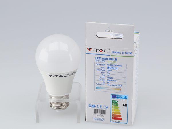 V-TAC 9W LED izzó lámpa E27 A60 2700K meleg fehér 7260