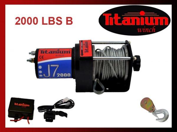 Titanium csörlő emelő 12V 2000 LBS 907 kg J7 kormánykapcsolós 55599