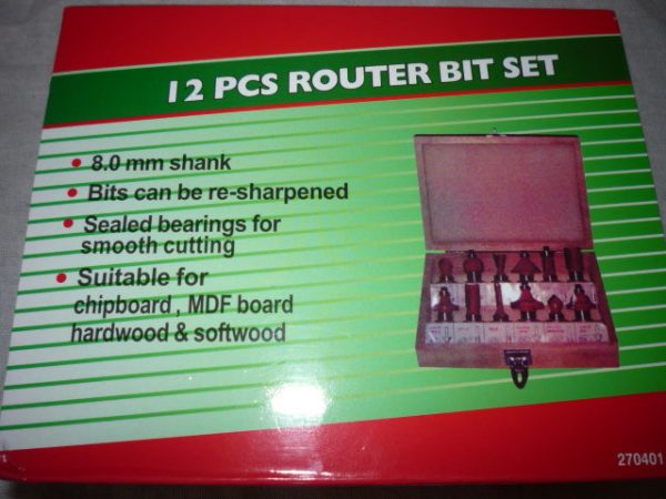 Marófej szett felsőmaróhoz 12db-os felsőmaró fej 8mm  MF12/8