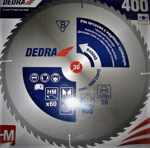 Dedra karbidos vídiás körfűrészlap vágótárcsa körfűrész lap fához 400×30 60 fogas H40060