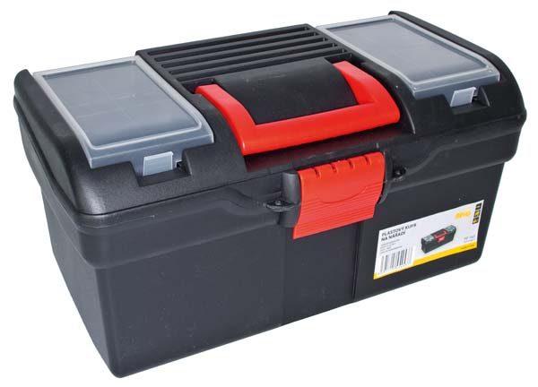 Műanyag szerszámos láda szerszám tároló tároló láda 394x215x195  mm  2  tálcás PP163
