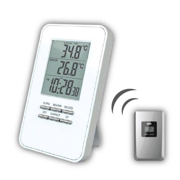 Vezeték  nélküli  időjárás állomás hőmérséklet  idő  ébresztőóra  fehér TE44