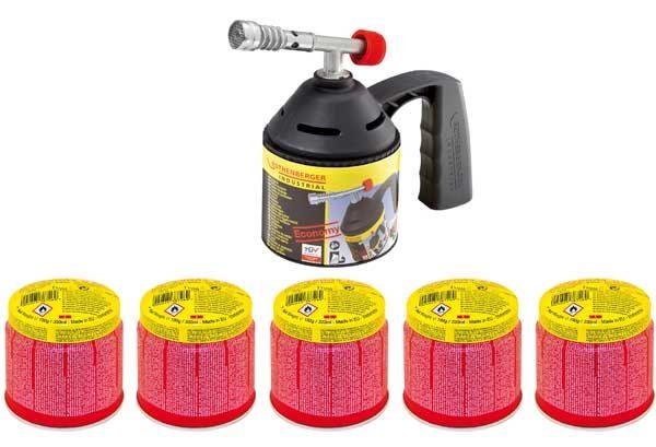 Rothenberger forrasztópisztoly gázlámpa forrasztólámpa piezo + 5 db gázpatron 1000000985