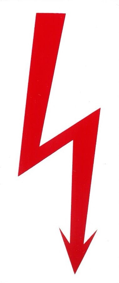 Piros villám piktogram 50x115mm – matrica 120077