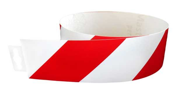 Jelzőszalag piros/fehér normál 980x60mm – matrica