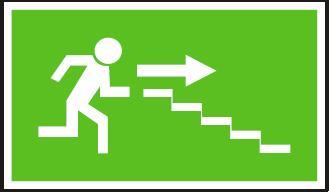 Panáček se směrem vpravo po schodišti dolů – plastová tabulka… 120219