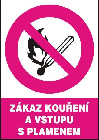 Zákaz kouření a vstupu s plamenem – samolepka A5 120227