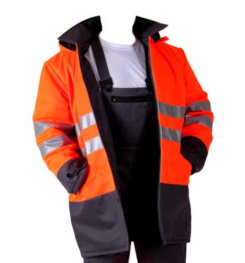 Férfi vízálló munkás kabát munkáskabát esőkabát fényvisszaverő csíkkal 48-as méret 1871-8 1871-88-48