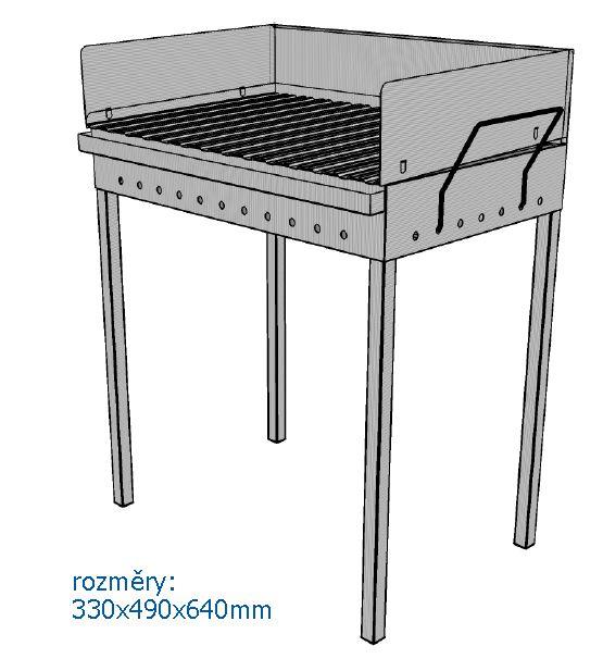 Mars összecsukható rozsdamenetes acél kerti grill grillsütő 640 x 490 x 330 mm 2007