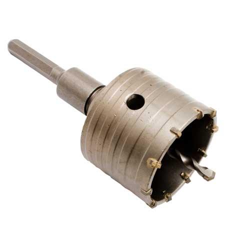 Kalapácsfúró koronafúró dobozfúró fúrószár 75mm átmérő 110mm szár hatszögletű 27075112