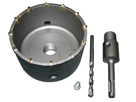Kalapácsfúró koronafúró dobozfúró fúrószár 100mm átmérő 110mm szár SDS+ 27100100