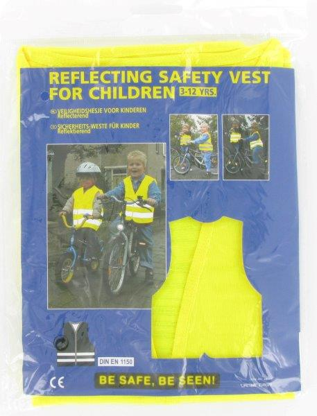 Dětská bezpečnostní vesta pro děti 3-12 let – žlutá 38117