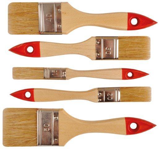 Ecsetkészlet lapos ecset festőecset készlet 5 darabos világos sörte fa nyél 402699