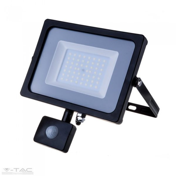 V-tac 50 W kültéri mozgásérzékelős led reflektor fekete IP65 6400K Samsung led PRO471