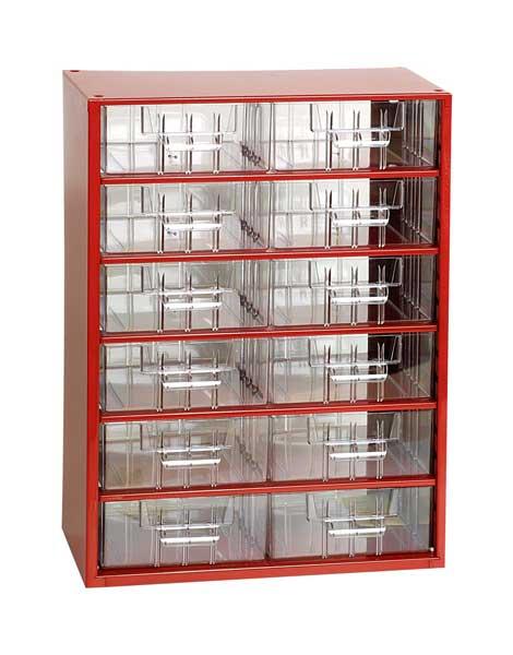 Mars műanyag szekrény fiókos tároló szerszámtároló 12 fiók fém piros 420 x 306 x 145 mm 6706C