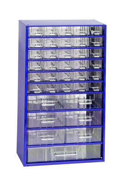 Mars műanyag szekrény fiókos tároló szerszámtároló 30+6+1 fiók kék 551 x 306 x 145 mm 6723M