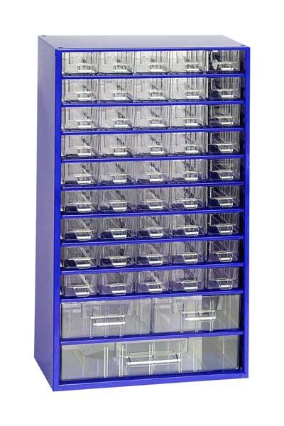 MARS szekrény alkatrésztároló 45+2+1 fiókos fém kék 6744M