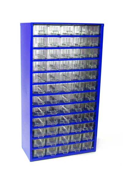 MARS szekrény alkatrésztároló 60 fiókos fém kék 305x550x145 6750M