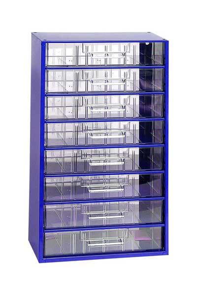 Mars műanyag szekrény fiókos tároló szerszámtároló 8 fiók kék 551 x 306 x 145 mm 6753MDS
