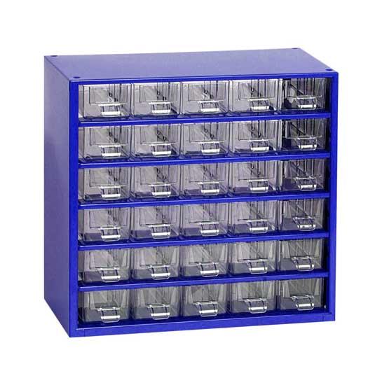 MARS szekrény tároló rendszerező alkatrésztároló 30 fiókos fém kék 306x282x145 mm 6762M