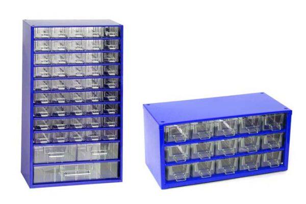 Mars műanyag szekrény szortimenter fiókos tároló szerszámtároló szett 48 fiók + 15 fiók kék 67 6791M
