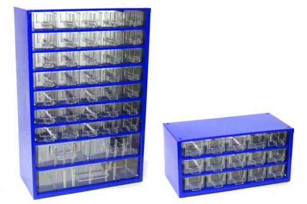 Mars műanyag szekrény fiókos tároló szortimenter szerszámtároló szett 38 + 15 fiók kék 6792M