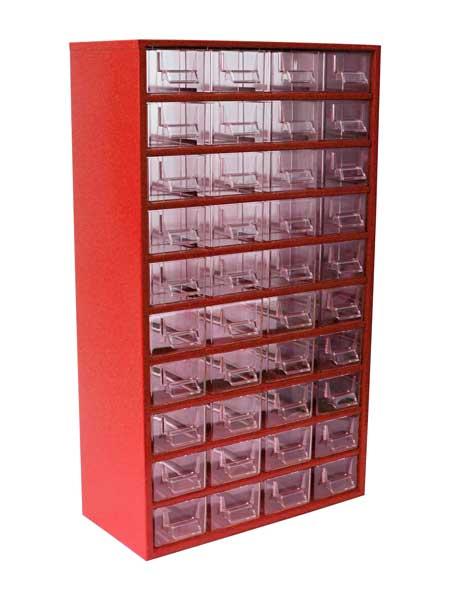Mars műanyag szekrény fiókos tároló szerszámtároló 40 fiók piros 630 x 366 x 172 mm 7805C