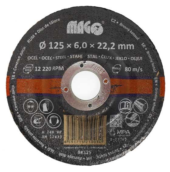 Csiszolókrong köszörűkorong korong fémre 125x6x22,2 mm BK125