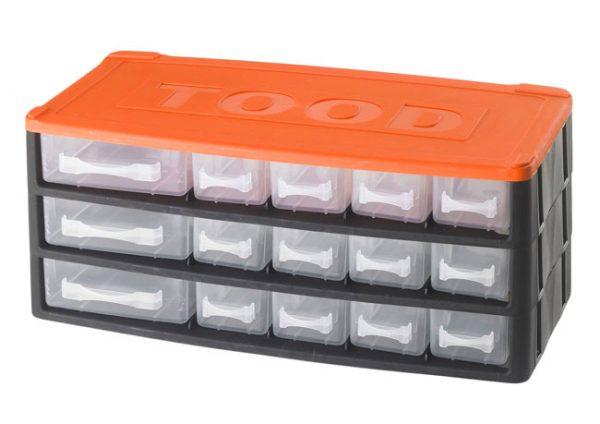 Műanyag szekrény fiókos tároló szerszámtároló 15  fiók  horgászdoboz horgász doboz330x170x140mm CD1215