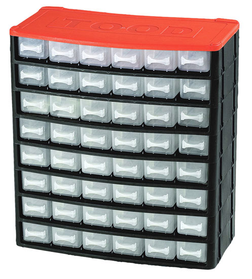 Műanyag szekrény fiókos tároló szerszámtároló 48 fiók horgászdoboz horgász doboz330x160x350mm CD1248