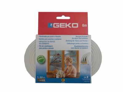 GEKO – Öntapadós gumi tömítő fehér EPDM 9x4mm / 6m E-profil G1000/4