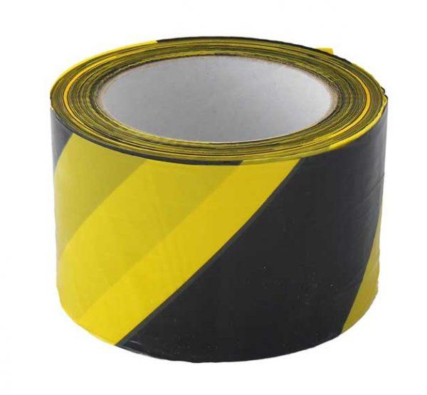 Figyelmeztető szalag sárga/fekete 70mm x 200m