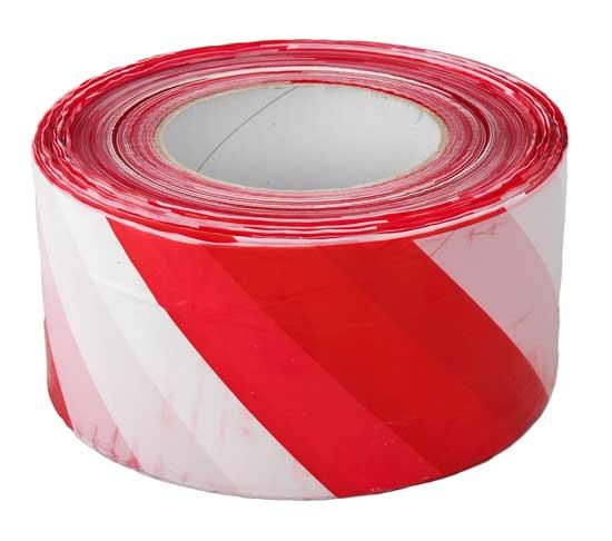 Figyelmeztető szalag piros/fehér 70mm x 500m