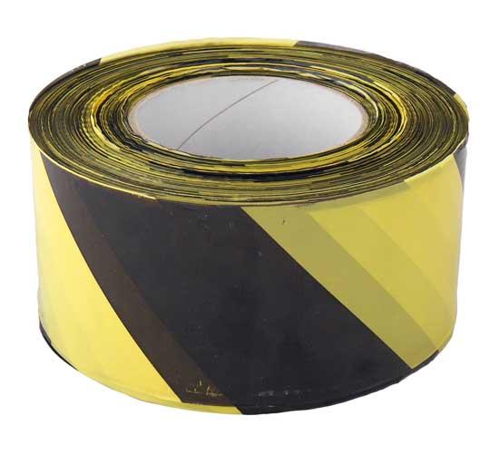 Figyelmeztető szalag sárga/fekete 70mm x 500m