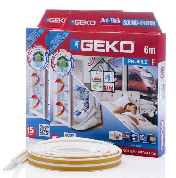 GEKO – Ablaktömítő hab öntapadós fehér F-profil 2x3m G3300/2