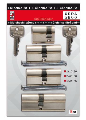 4xCilinder betét, zárbetét STANDARD 1×30-10, 2×30-30, 1×35-45… GERA5900SET4