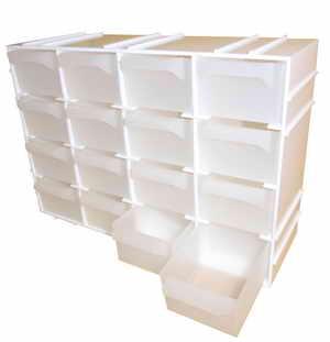 Szekrény alkatrésztároló tároló szortimenter ABS műanyag 16 fiók 22,5×7,2×15,5 cm LZ0122