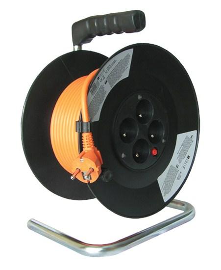 Hosszabbító kábeldobbal vezeték 3×1,5mm2 25 m 4 aljzat 16A 3680W PB03