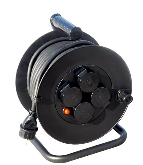 Hosszabbító kábel dobbal 3×1,5mm2, 25 m, 4 aljzat külső PB33