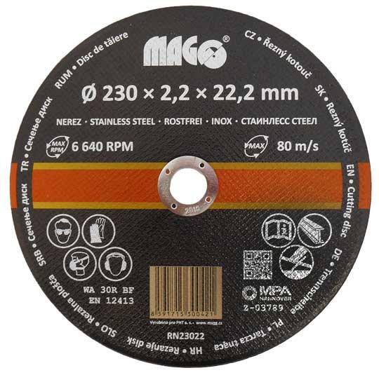 Vágókorong rozsdamentes acélhoz 230×2,2×22,2 mm RN23022