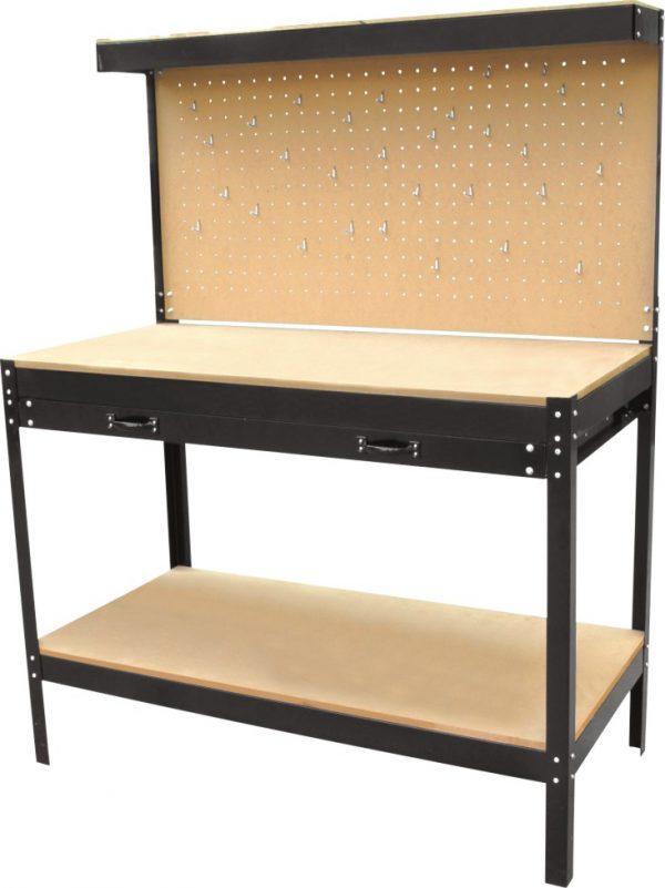 Univerzális munkapad szerszámtartós munkaasztal állvány műhely asztal 120x60x151 cm RR016