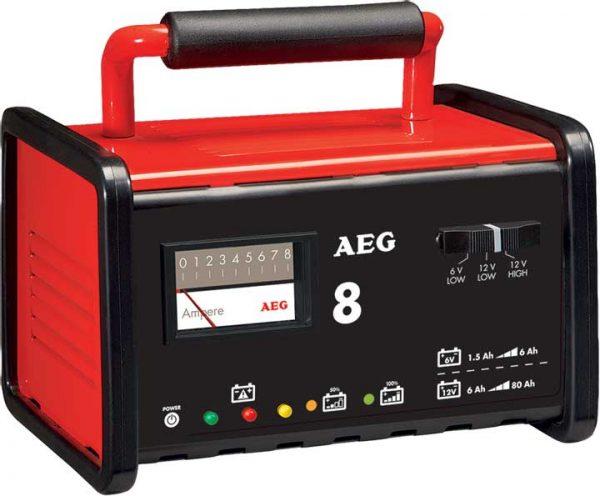 AEG – fém akkumulátor töltő 8A, 6/12V, 2-80Ah SA-97008