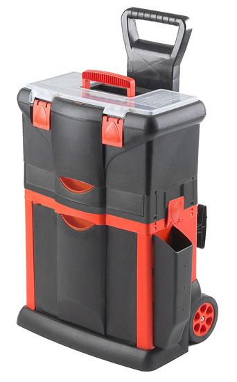 Magg műanyag koffer műanyag táska tárolókocsi fogantyúval és kerekekkel szerszámosláda szersz TBR101