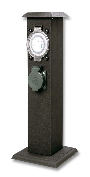 Kerti elosztó oszlop 2x dugalj fedővel, óra, IP44 XSMM-202